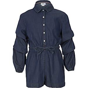 Combi-short en jean bleu à manches longues pour fille