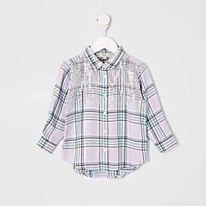 Mini - Paars geruit overhemd met lovertjes voor meisjes