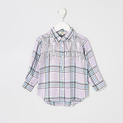 Mini girls purple sequin check shirt