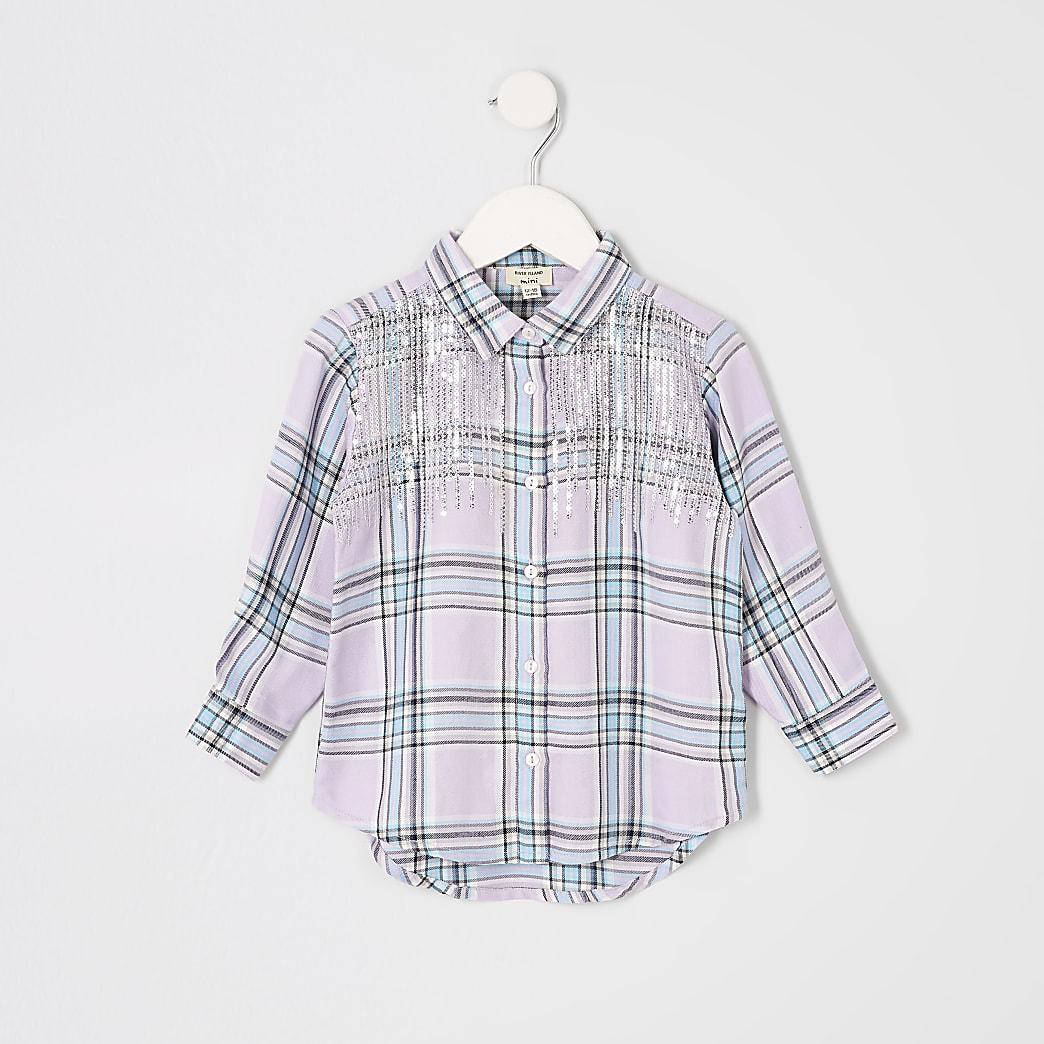 Mini girls purple sequin check shirt