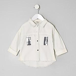 Veste-chemise blanche à sequins mini fille