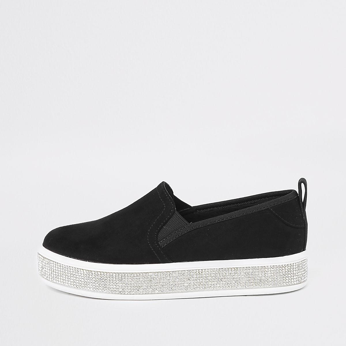 Girls black rhinestone sole plimsolls