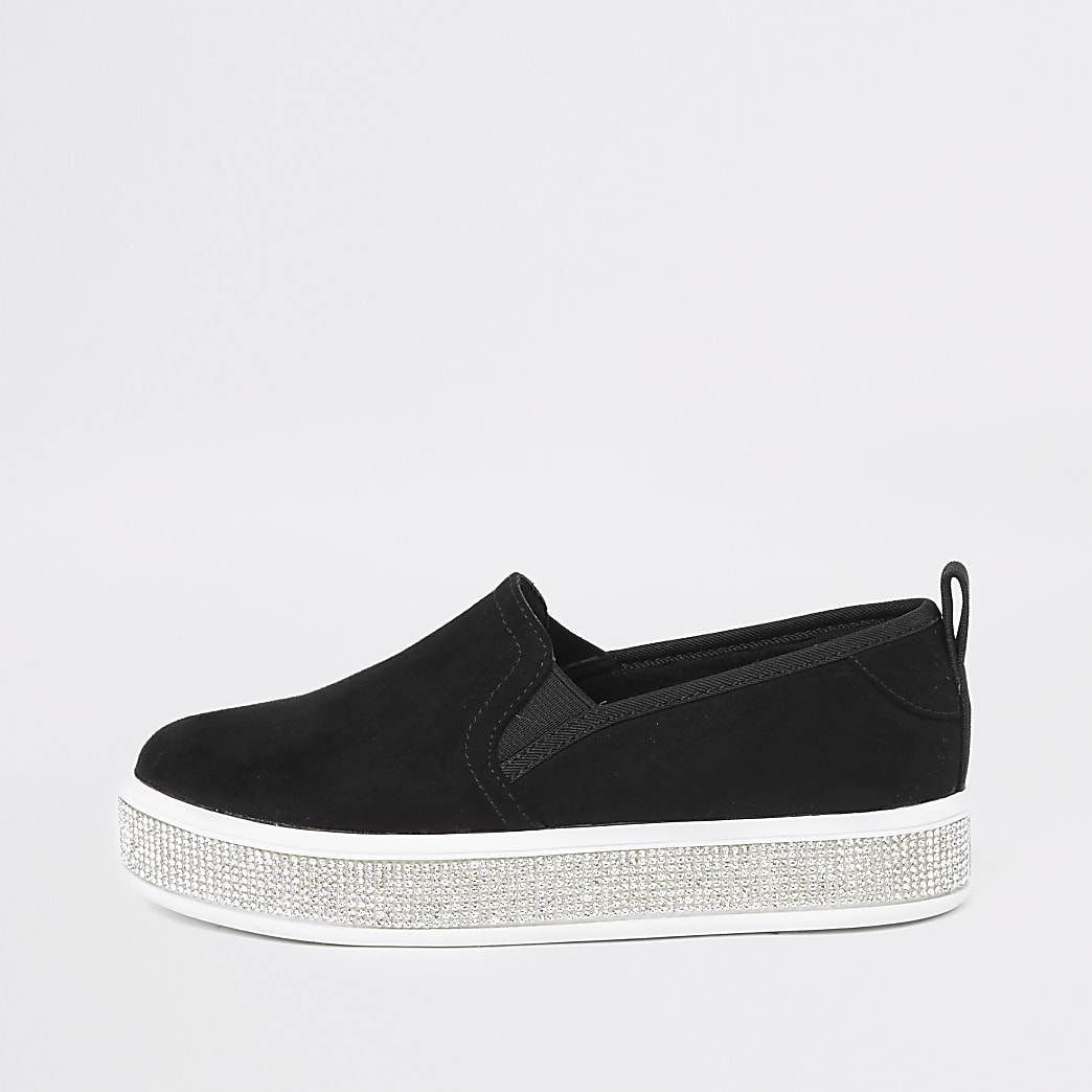 Girls black diamante sole plimsolls