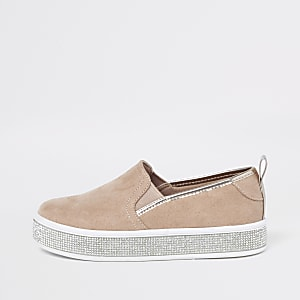 Girls pink diamante sole plimsolls
