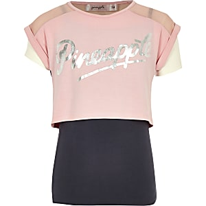 Pineapple – T-shirt rose double épaisseur fille
