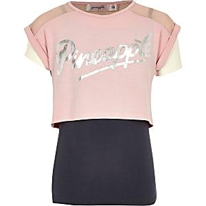 Roze T-shirt met dubbele laag en Pineapple-print voor meisjes