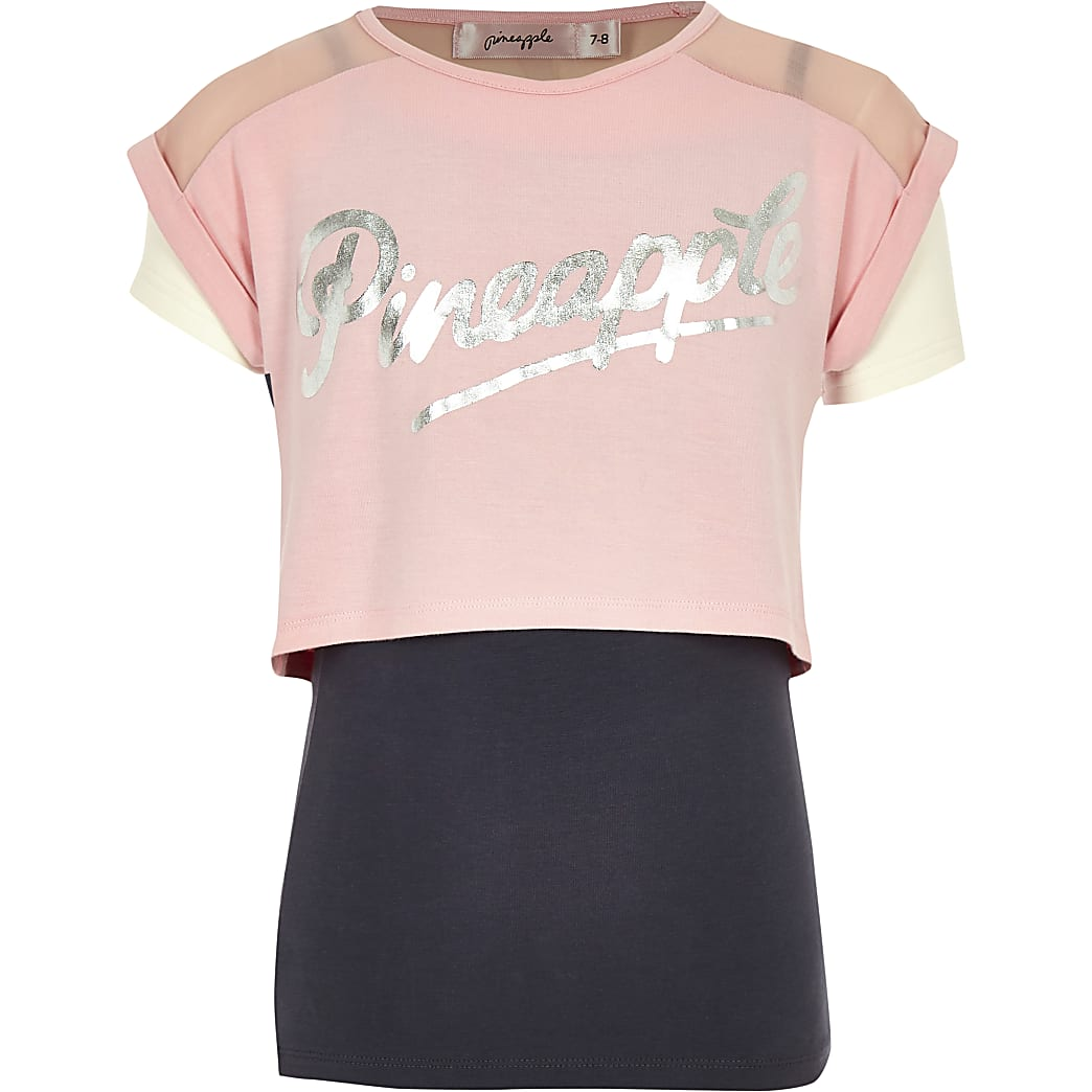 Girls pink Pineapple double layer T-shirt