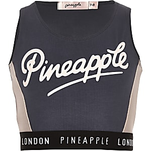 Pineapple – Anthrazitgraues Crop Top mit Mesh-Einsatz