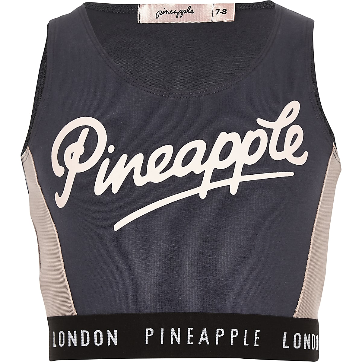 Girls Pineapple charcoal grey mesh crop top
