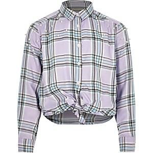 Girls purple check pearl tie shirt
