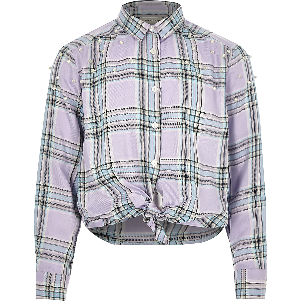 Girls purple check pearl tie shirt