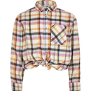 Chemise jaune à bande à carreaux nouée sur le devant pour fille