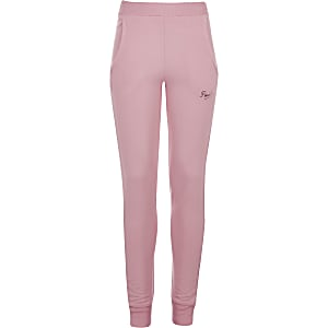 Girls Pineapple pink skinny cuffed joggers