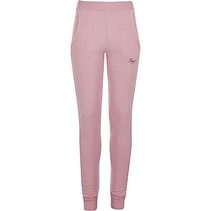 Girls Pineapple pink skinny cuffed joggers