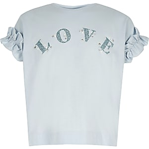Girls blue 'Love' frill T-shirt