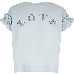 Blauw T-shirt met 'Love'-print en ruches voor meisjes