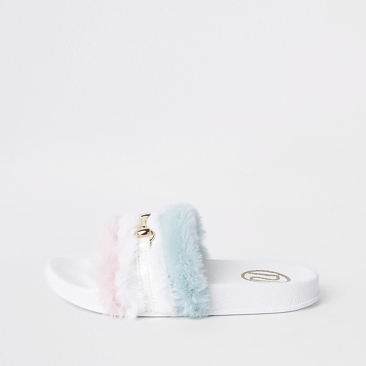 Claquettes à mors blanches avec fausse fourrure multicolore pour fille