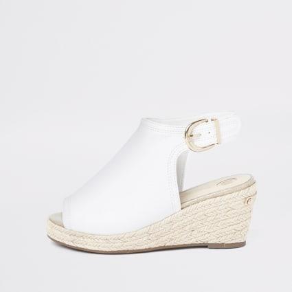 Girls white espadrille peep toe wedges