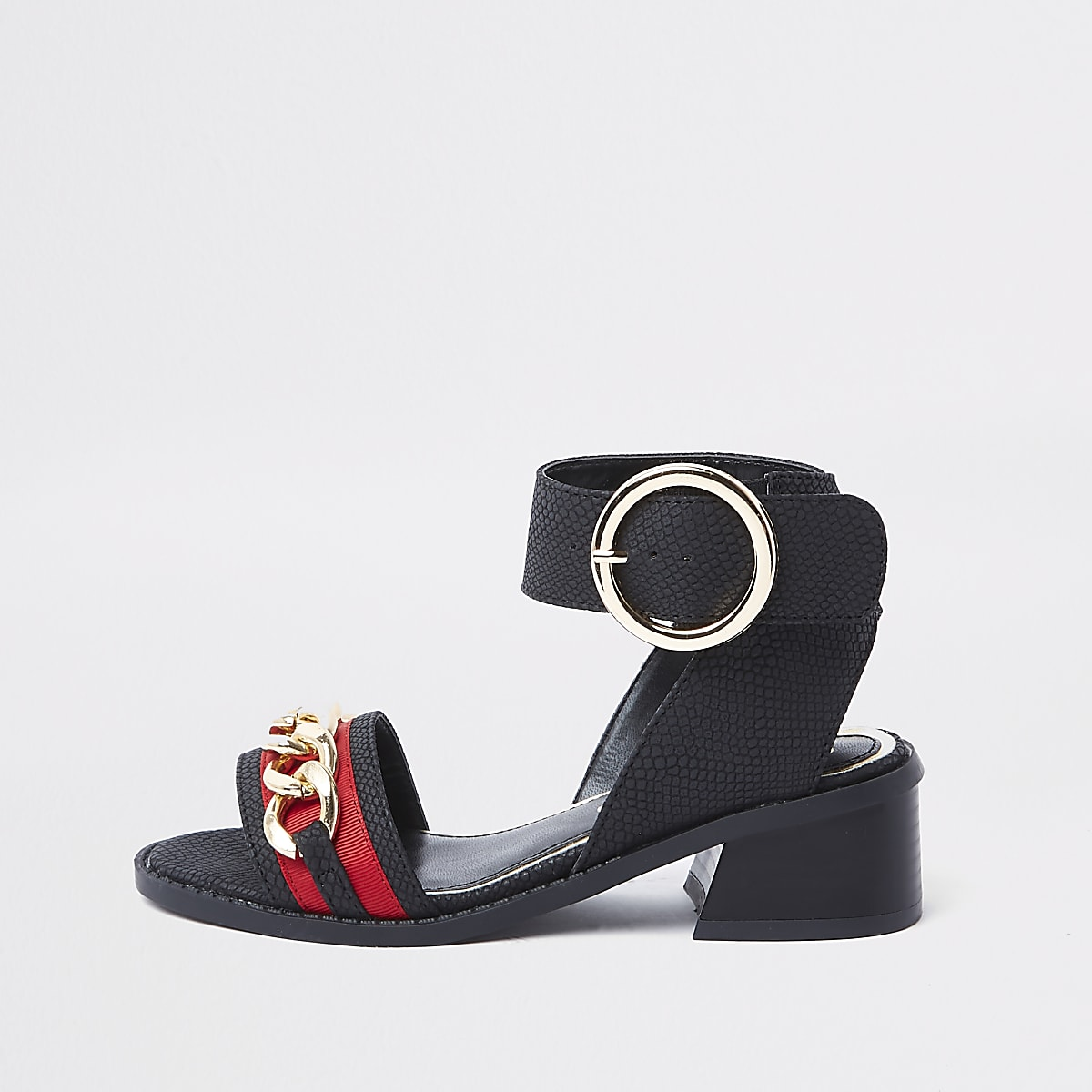 Girls black chain flared heel sandals