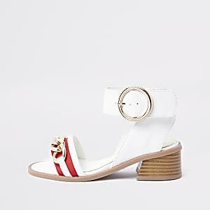 Sandales blanches à talon évasé et chaîne pour fille