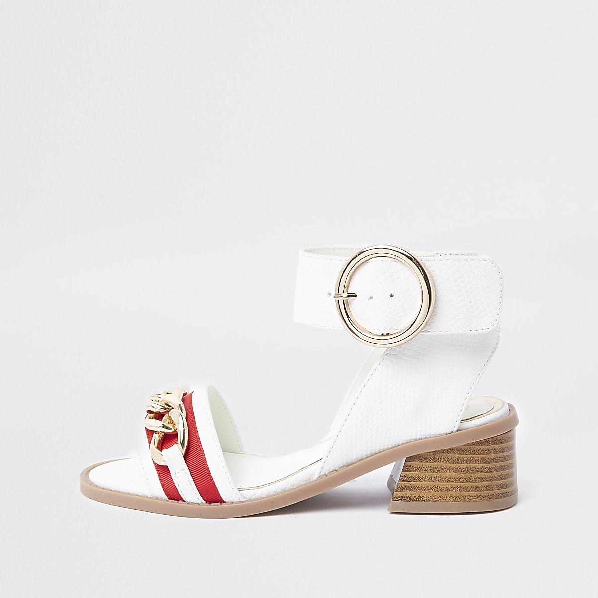 Witte sandalen met ketting en uitlopende hak voor meisjes