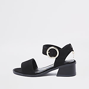 Girls black flared heel sandals