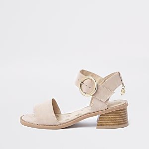 Girls beige flared heel sandals