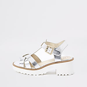 Girls silver metallic clumpy sandals