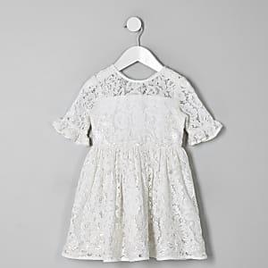 Mini girls white lace bow back dress
