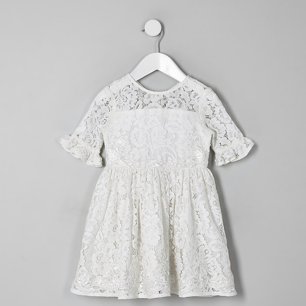 Mini girls white lace bow back dress