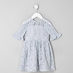 Mini girls blue lace bow back prom dress