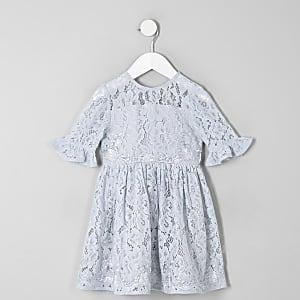 Robe de gala en dentelle bleue avec nœud dans le dos mini fille