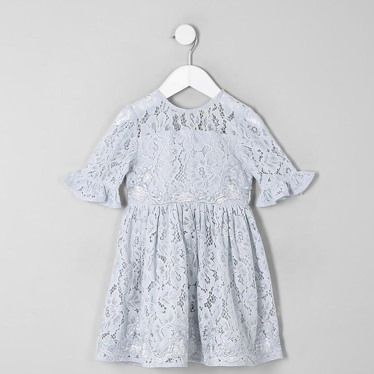 Mini girls blue lace bow back prom dress