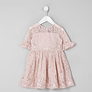 e94eb809350e6 Mini girls pink lace bow back prom dress