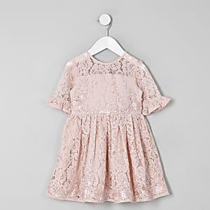 Robe de gala en dentelle rose avec nœud au dos mini fille
