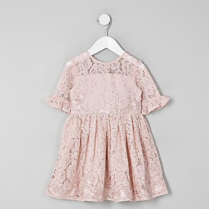 Mini girls pink lace bow back prom dress