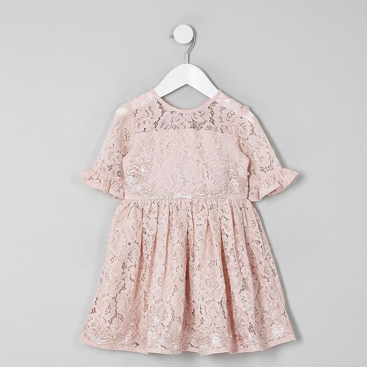 Mini - Roze kanten avondjurk met strik aan de achterkant voor meisjes
