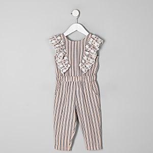Mini girls pink stripe frill jumpsuit