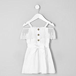 Mini girls white broderie bardot dress