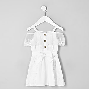 Robe Bardot blanche à broderie anglaise mini fille