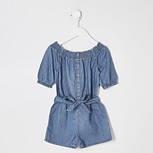 Combi-short Bardot en denim bleu mini fille