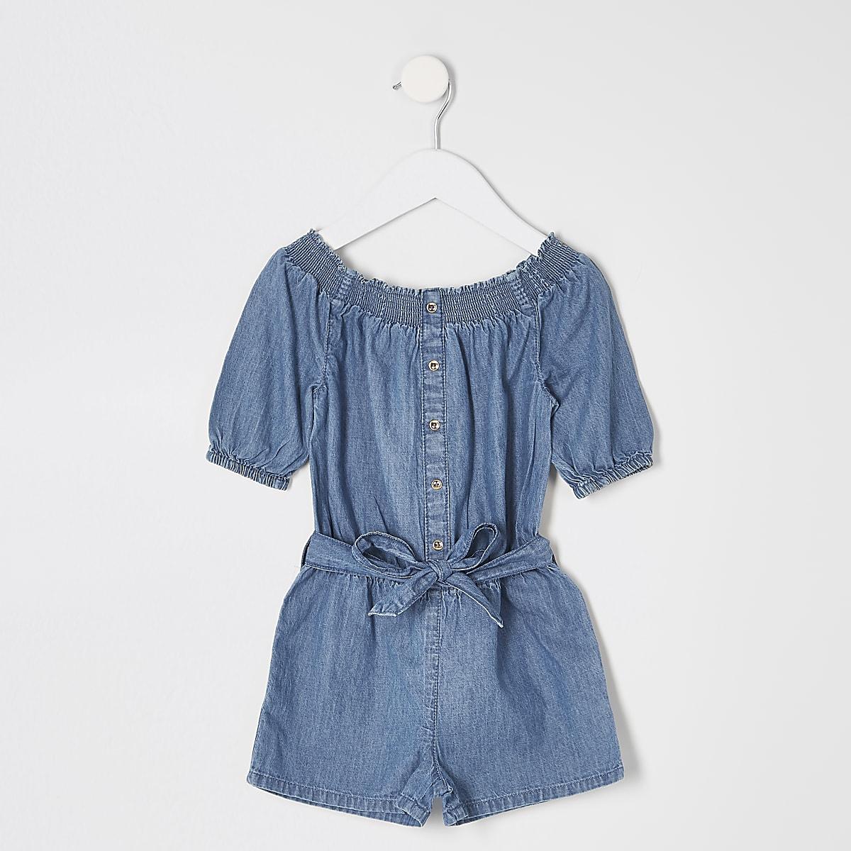 Mini girls blue bardot denim playsuit