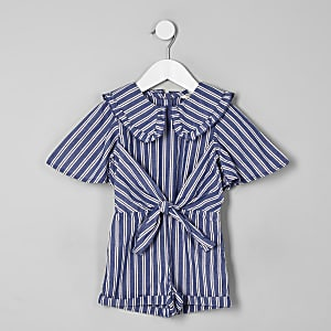 Mini girls blue stripe collar romper