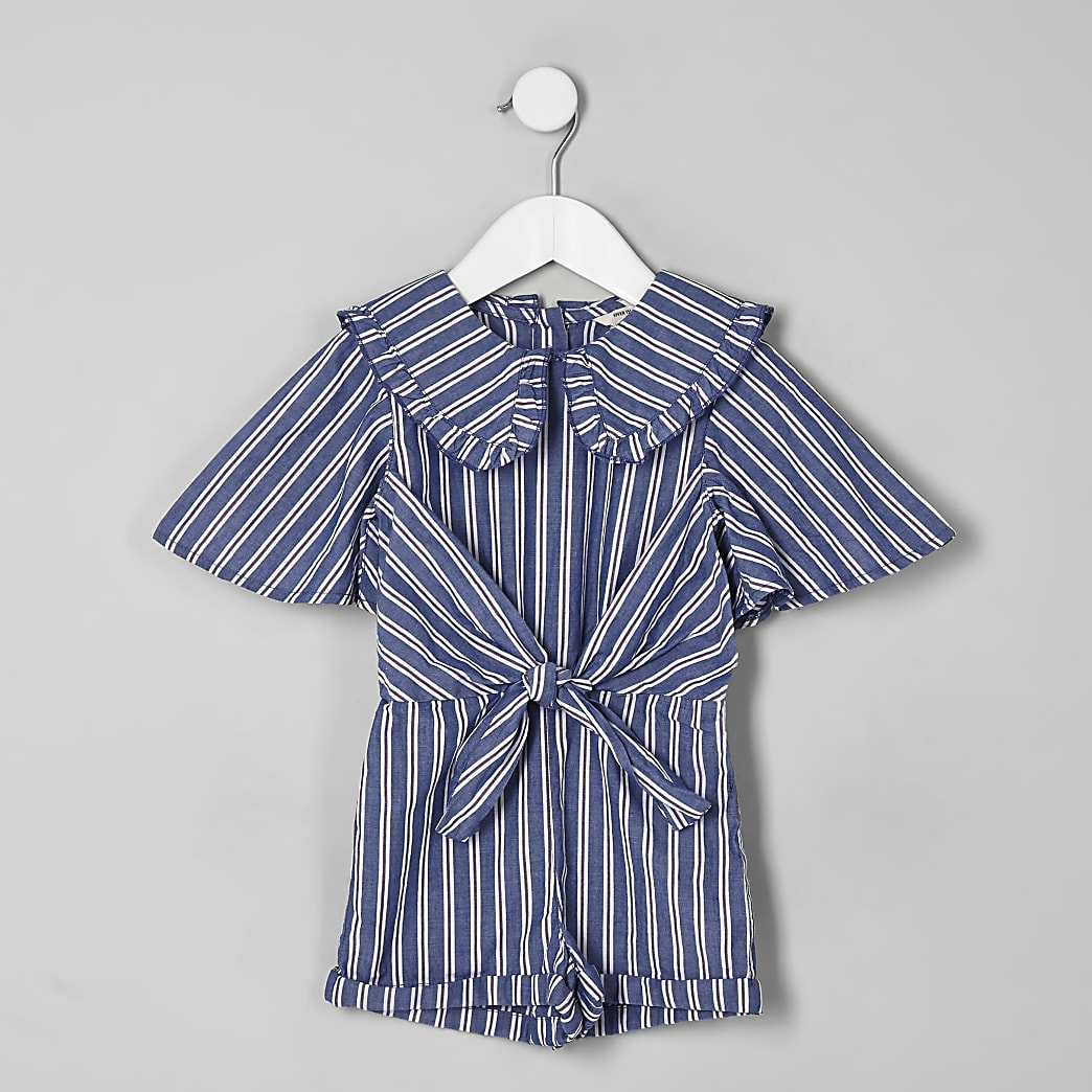 Mini girls blue stripe collar playsuit