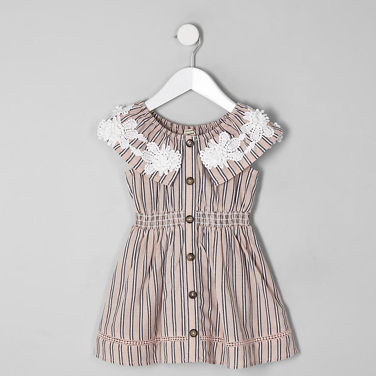 Mini girls pink stripe dress