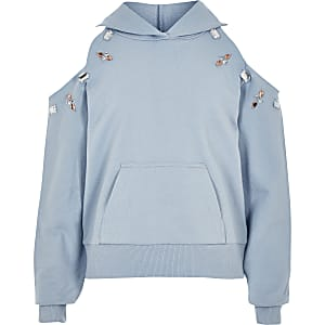 Girls blue embellished cold shoulder hoodie