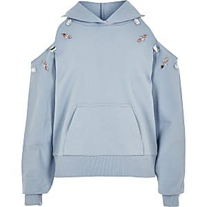 Girls blue embellished cold shoulder hoodie