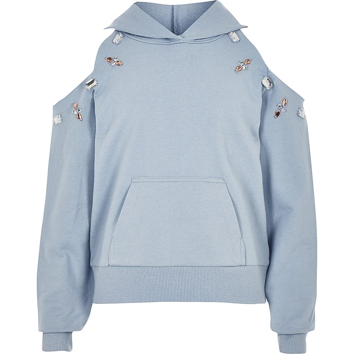 Blauwe verfraaide schouderloze hoodie voor meisjes