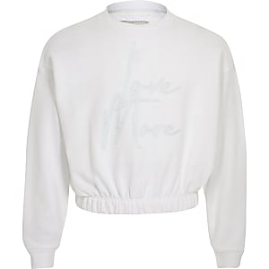 Girls white 'Love more' sweatshirt