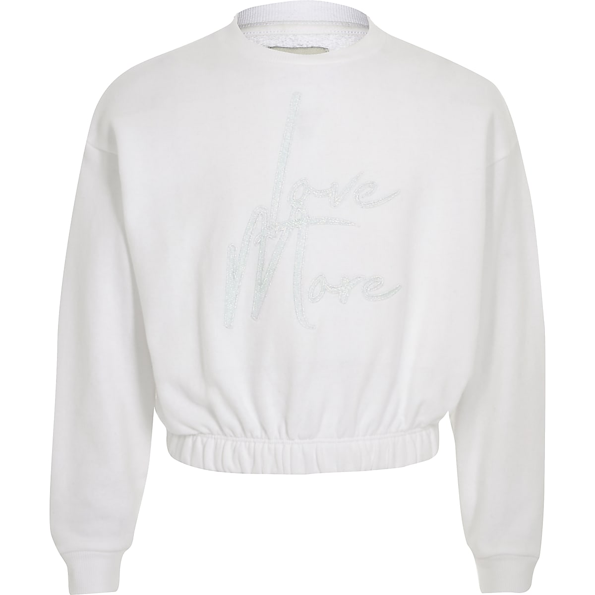 Girls white 'Love more' sweatshirt